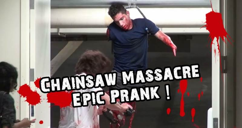 Epic Chainsaw Massacre Prank im Parkhaus Kettensäge Massaker Halloween