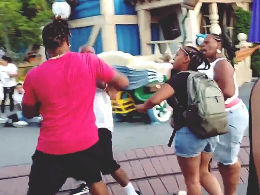 Familie prügelt sich in Disneyland. Kämpfende Männer und schreiende Frauen