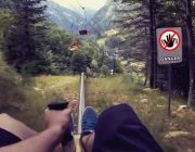 Bergbahn Alpe Campo di Rimasco Italien Schnellste Rodelbahn Crash