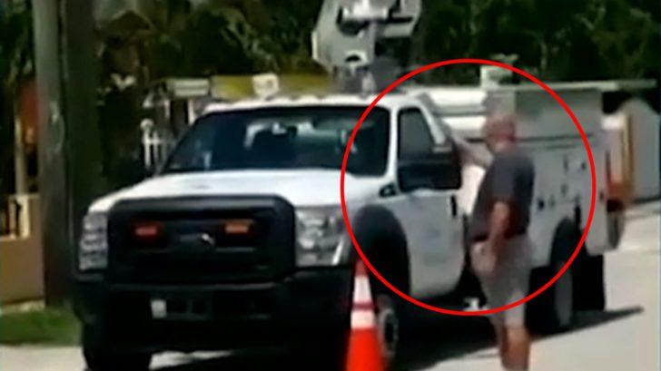 Florida Mann schießt mit Revolver auf AT & T LKW Trucks
