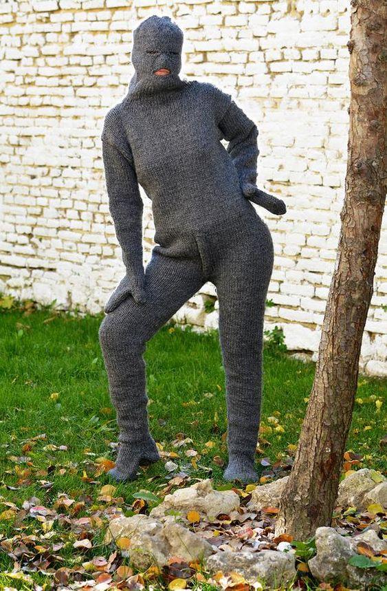 Gestrickter Catsuit aus grauer Baumwolle